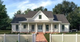 Plan 56439SM: Lovely Farmhouse Plan with Vaulted Living Room