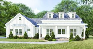 Plan 70628MK: Modern Farmhouse Plan with Vaulted and Beamed Great Room
